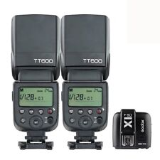 2X Godox TT600 2.4G HSS Camera Flash Speedlite + X1T-C Transmitter for Canon