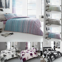 Printed Duvet Cover Check Stripe Bedding Set King Size Double Single Superking