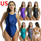 US Women One Piece Gymnastic Bodysuit Swimwear Glossy Tights Monokini Swimsuits
