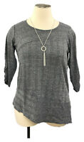New! AVENUE Charcoal Gray Hacci Ribbed 3/4 Sleeve Asymmetric Hem Sweater