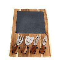 5 Piece Food Cheese Board Plate Slicer Set Gift Acacia Wood Natural Slate