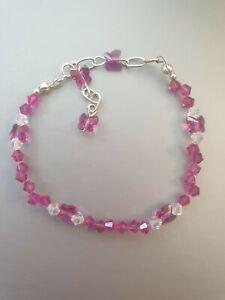 "Crystal butterflies bracelet made with Swarovski Elements Handmade - fuchsia 7"""