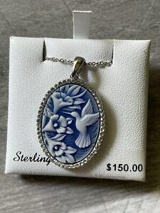 "Swarovski  Sterling Silver Blue CAMEO Pendant Necklace 18"""