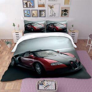 3D Racing Car Duvet Quilt Cover Bedding Set Pillow Cases Single Double King Kids