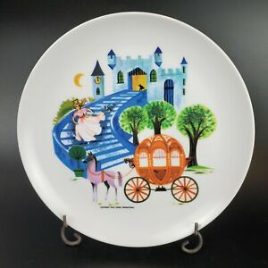 """Walt Disney """"Cinderella"""" Melamine 7 1/8""""  Plate Allied Chemical VTG 60s Set of 6"""