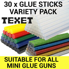 Mini Variety Pack 30x Hot Melt Glue Gun Sticks 7mm x 100mm Clear, Colour Glitter