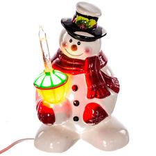 "Festive Snowman & Glitter Bubblelight Ceramic Holiday Light Up 8"" Decoration NIB"