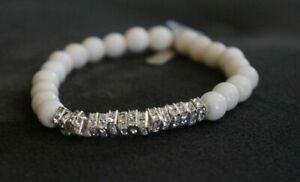 NEW Lisa Freede Moroccan Bone Mala Stretch Bracelet Rhodium Crystalized Spacers