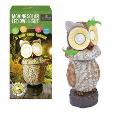 Owl Light Moving Solar Powered LED Outdoor Novelty Garden Sculpture summer Uk