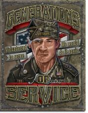 Generations of Service US Military Veteran Vintage Garage Wall Decor Metal Sign