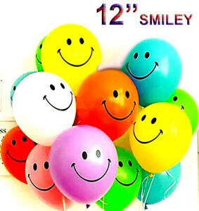 "50 x SMILEY YELLOW 12"" LARGE FACE BALLOONS LATEX RUBBER HELIUM PARTY BALLOON"