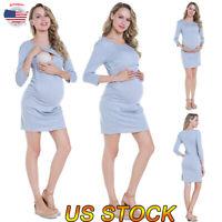 Women Maternity O-Neck Above Knee Dresses Breastfeed Nursing Pregnant Mini Dress
