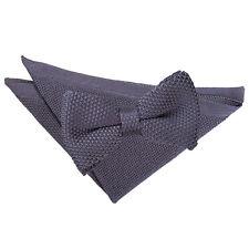 DQT Knit Knitted Plain Charcoal Pre-Tied Men's Bow Tie Handkerchief Set