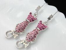 rose pink Austrian Crystal cat kitty bowtie tial Earrings jewelry dangling T08
