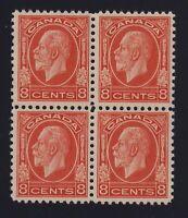 Canada Sc #200 (1932) 8c red orange Medallion Block of 4 Mint VF NH MNH
