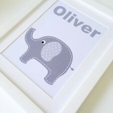 Personalised Baby Nursery Name Print Child Birth Gift Picture Newborn Boy Grey