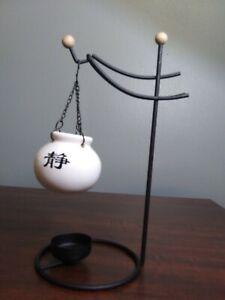 Black Metal Tea Light Candle Warmer Asian Theme Hanging Pot Wood Accents Unique