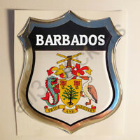 Sticker Barbados Emblem Coat of Arms Shield 3D Resin Domed Gel Vinyl Decal Car