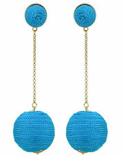 Single Threaded Ball Dangle Drop Blue Gold Tone Statement Earring