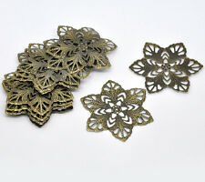 30Bronze Tone HOTSELL Filigree Flower Wraps Connectors 57mm