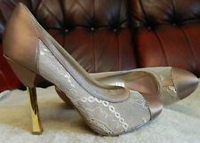 PARIS HILTON ONORA CHAMPAGNE SATIN & LACE GOLD STILETTO HEEL US 6M UK 3.5 4 NEW