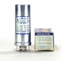 NOS NIB Acrolytic 80-40-150 uF MFD 400-400-50 VDC Electrolytic Can Capacitor