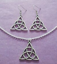 Silver Tone Triquetra Knot Charm Necklace & Earrings Set - New
