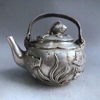 China Antiques Tibetan silver hand made FISH teapot wine pot flagon