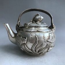 China Antiques Tibetan silver hand made FISH teapot wine pot flagon