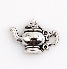 15 New Teapot Flower Leaf Tibetan Silver Tone Charms Pendants 14x16mm
