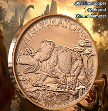 """Triceratops"" Dinosaur Round 1 oz .999 Copper Round part of Dinosaur series"