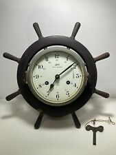 Vintage Schatz Royal Mariner Distressed Rustic Clock With Key Tested Working!