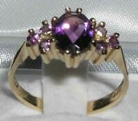 10ct Yellow Gold Natural Amethyst Womens Classic Ring - Sizes J to Z