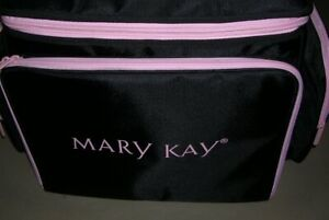 """Mary Kay Large Makeup Bag (Case / Tote) Consultant 20""""x13""""x13"""" Black & Pink Trim"""