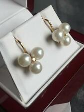 VINTAGE 14CT YELLOW GOLD GENUINE CLUSTER AKOYA PEARL SCREW BACK EARRINGS - 489
