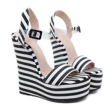Womens High Wedge Heels Platform Slingback Black White Stiped Sandals Pumps Hot