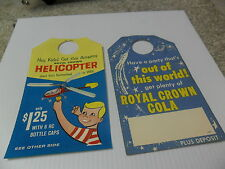 """TWO 1960`s RC COLA  BOTTLE TOPPER.TWO GREAT SMALLS  4"""" / 7"""""""