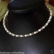 w Swarovski Crystal ~White PEARL Bridal Wedding Sterling Silver Necklace Jewelry