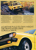 1981 Toyota Tercel - yellow - Classic Vintage Advertisement Ad H18