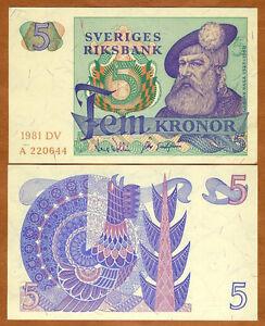 Sweden, 5 Kronor, 1977, P-51 (51d)  King Gustav Vasa, UNC