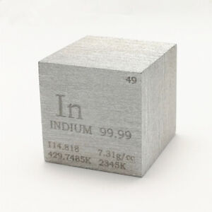 Indium Metal Density Cube 25.4mm 99.99% 120g for Element Collection