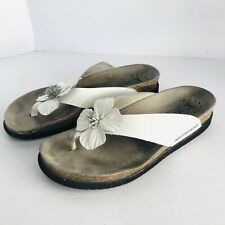 """MEPHISTO """"AIR RELAX"""" WHITE LEATHER THONG SLIDE SANDALS FLOWER WOMEN SIZE 38/8"""