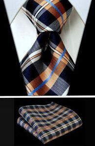 Navy Blue & Orange Plaid Necktie Set - Matching Tie + Pocket Square Set