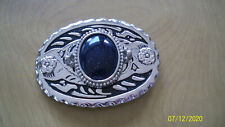 "3 3/4"" x 2 1/2""Silver Belt Buckle with lg blue stone in the center"