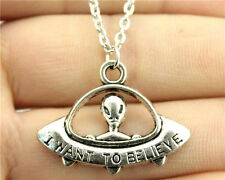 "X-Files Necklace ""I Want To Believe"" UFO Alien Charm Unisex Spaceship Jewelry"