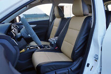 BLACK/BEIGE LEATHER-LIKE CUSTOM MADE FRONT SEAT COVERS FOR NISSAN ROGUE 2013-17