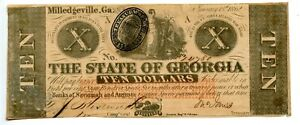 1862  $10  Milledgeville, The State of Georgia.   Civil War Issue. CR# 4