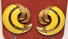 Gestempelt Trifari Crown Goldfarbig Gelb Emaille Ohrstecker
