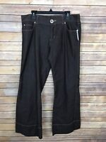 Live A Little Womens Size 14 Flare Pants Stretch Mid Rise Brown Bell Bottom Leg
