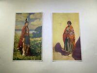 Vintage Native American Art Prints Set Of Two (2). One Man One Woman.